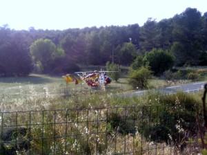 Intervention de l'hélicoptère de le sécurité civile en raison de la gravité de l'accident de moto du 9 juin 2016 vers 18h15
